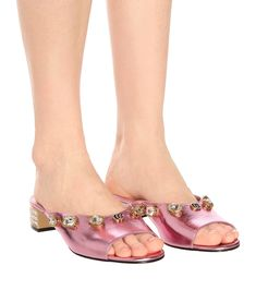 7b1a5c08cf7a Gucci - Embellished leather sandals | Mytheresa Metallic Pink, Men Style  Tips, Pink Leather