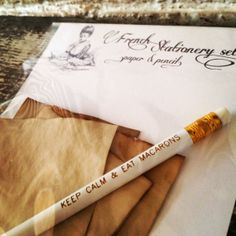 French Stationery  Paper  Pencil  Wooden by 5dollarfrenchmarket, $5.00