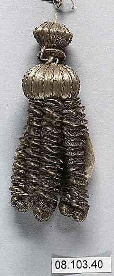 Tassel, French, early 19th century, metal thread