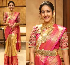 Niharika Konidela in a gold Kanjeevaram saree South India Fashion Best Blouse Designs, Half Saree Designs, Bridal Blouse Designs, Saree Blouse Designs, Mehndi Designs, Bridal Sarees South Indian, Bridal Silk Saree, Indian Bridal Fashion, Silk Sarees