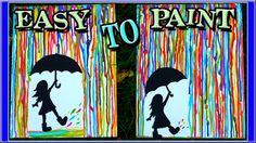 Rainbow Rain Acrylic Painting for Beginners