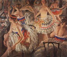 In Ballet Dressing Room (Big Ballerinas) by Zinaida Serebriakova (1922)