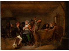 LUSTIGE GESELLSCHAFT IN EINER SCHÄNKE Öl auf Eichenholz. 49 x 38 cm. Rechts unter dem Tisch monogrammiert. Der bedeutende Genremaler aus der Haarlemer...