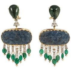 Carved blue Sapphire Emerald Diamond drop Earrings