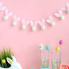 I put together this festive Easter garland using felt balls felt sheets and pom poms. Easter Birthday Party, 1st Birthday Party For Girls, Bunny Birthday, Easter Garland, Easter Banner, Decoracion Baby Shower Niña, Easter Crafts For Adults, Bunny Party, Zeina