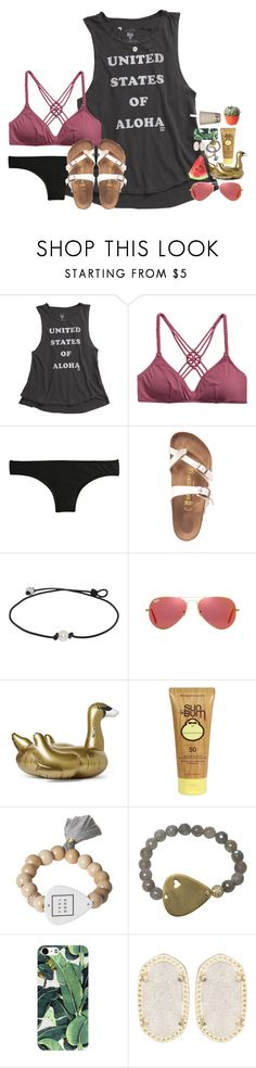 """""""going to a new school"""" by kate-elizabethh ❤ liked on Polyvore featuring Billabong, J.Crew, Birkenstock, Ray-Ban, Sunnylife, Sun Bum, Electric Picks, Kendra Scott and PLANT"""