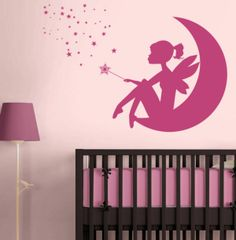 Fairy Girl on the Moon - Magic Wand & Stars - Wall Decals