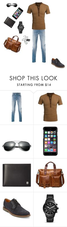 """""""Cute"""" by loveroftheanimals ❤ liked on Polyvore featuring Diesel, County Of Milan, Victorinox Swiss Army, Ekphero, G.H. Bass & Co., FOSSIL, men's fashion and menswear"""