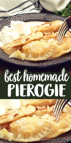 A Pittsburgh Style Homemade Pierogie is a crescent shaped dough that is filled with a mashed potato and cheese mixture b Pierogies Homemade, Homemade Pasta, Homemade Cheese, Homemade Dumplings, Vegetarian Recipes, Cooking Recipes, Good Food, Yummy Food, Gastronomia