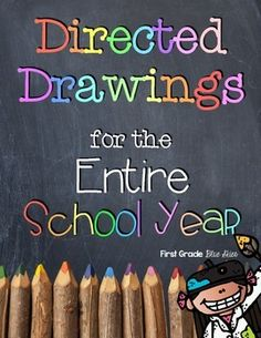 First Grade Blue Skies: Directed Drawings for the School Year Growing Bundle is HERE Kindergarten Art, Preschool Art, Preschool Spanish, Drawing For Kids, Art For Kids, Learn Drawing, First Grade Art, Second Grade, Fourth Grade