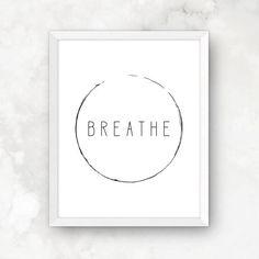 Breathe Wall Art Yoga Print Breathe Yoga Poster by OhMyWallPrints