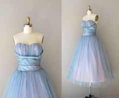 1950s dress / 50s strapless dress / Flutterby dress. $325.00, via Etsy.