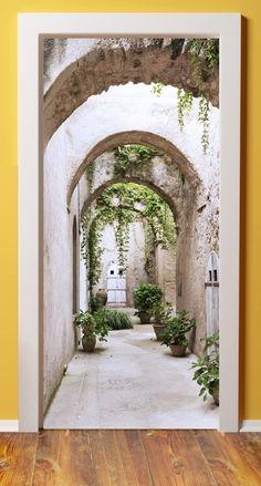 Add some deep to your small space Wall Murials, Door Wall, Wall Decor, Image Illusion, Tapete Floral, Wallpaper Door, Modern Tropical House, Door Murals, Door Stickers