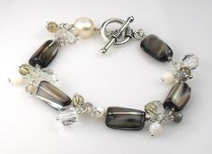 SALE SALE - Mother of Pearl Quartz Agate Cluster Sterling Winter Bracelet see shop announcement for discount details