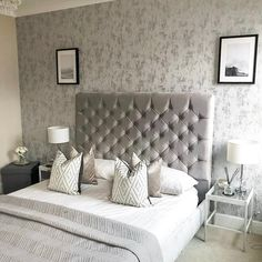 This Wallpaper is a beautiful, contemporary design that adds luxury, glamour and sophistication to any chosen room. Visit our Instagram @ilovewallpaper.co.uk for more inspiration. #ilovewallpaper #wallpaper #homeinterior #homeaccents #home  Metallic Wallpaper, Grey Wallpaper, Gray Bedroom, Master Bedrooms, Bedroom Ideas, Bedroom Decor, Paint Ideas, My Room, Hygge