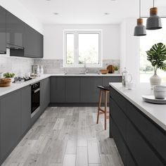 grey flooring Rowen grey wood effect matt wall and floor tile x Grey Kitchen Floor, Modern Grey Kitchen, Grey Kitchen Designs, Kitchen Room Design, Grey Kitchens, Modern Kitchen Design, Home Decor Kitchen, Kitchen Flooring, Interior Design Kitchen