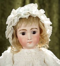 "20"" Sonneberg bisque doll, model 137, as look-alike Jumeau Triste, by mystery maker 1200/1500. Bidding will close on May 23!"