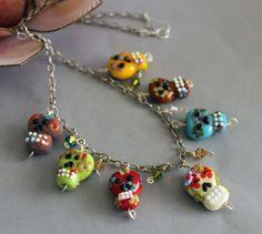 Lampwork Skulls (Calaveras) Necklace. via Etsy.