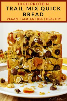 Trail mix meets a high protein, high fiber, soft, and dense quick bread to make the perfect on-the-go snack of your dreams! Grab a slice of this Trail Mix Quick Bread as your post workout snack or as part of your workday lunch. Healthy Protein Snacks, Healthy Vegan Desserts, Healthy Baking, Dessert Healthy, Vegan Food, Healthy Eats, Vegan Recipes, Afternoon Snacks, Fall Desserts