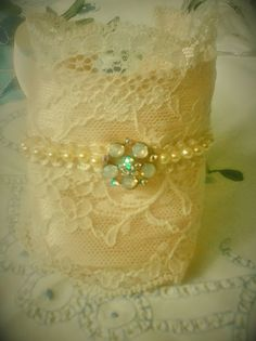 Handmade Bridal Vintage Lace Cuff, Victorian inspired stunning Vintage Lace, featuring a sparkling milky Rhinestone piece & cream beading by UrbanGypsyUK on Etsy https://www.etsy.com/listing/229728318/handmade-bridal-vintage-lace-cuff