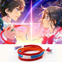 """Your Name"" braided cord bracelet, modeled after the braided cord Mitsuha and Taki shared!  Perfect for anyone who loves Your Name."