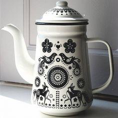 Folklore Enamel Tea / Coffee Pot ~love the black and white K Vintage Enamelware, Shop Interior Design, Chocolate Coffee, Folklore, Vintage Kitchen, Tea Party, Tea Cups, Cool Stuff, Teapots