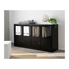 IKEA - KALLAX, Shelf unit, black-brown, , Choose whether you want to place it vertically or horizontally to use it as a shelf or sideboard. Etagere Kallax Ikea, Ikea Kallax Shelf Unit, Ikea Kallax Regal, Hacks Ikea, Home Design, Interior Design, Ikea Home, Grey Wood, Plank
