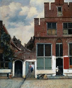 """""""View of Houses in Delft"""" or """"The Little Stree -- 1658 -- Johannes Vermeer -- Dutch -- Rijksmuseum, Amsterdam, Netherlands. Johannes Vermeer, Vermeer Paintings, Dutch Golden Age, Dutch Painters, Oil Painting Reproductions, Dutch Artists, Caravaggio, Rembrandt, Constructivism"""