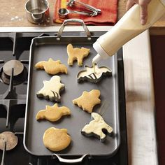 When you think about Halloween, you think candy, but even on that special day people still need their pancakes. They might as well be pancakes shaped in Halloween themes. These Halloween Mini Pancake Molds will do the job.  You get a se