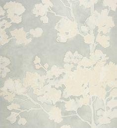 Papel pintado flores de cerezo blanco metalizado fondo celeste grisáceo de acuarela - 2011262