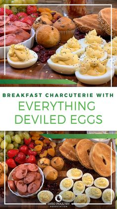 Grab a large platter and get the whole family involved in assembling this colorful and delicious breakfast board. Arrange an array of favorites – from fruits and nuts to bagels and Everything Deviled Eggs!