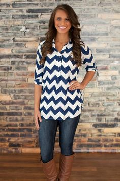 The Pink Lily Boutique - Navy Chevron Blouse, $34.00 (http://thepinklilyboutique.com/navy-chevron-blouse/)