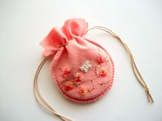 Felt Pouch Salmon Pink Drawstring Gift Bag by HandcraftedorVintage, $18.00
