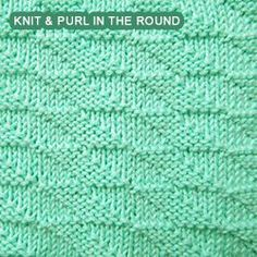 [Knitting in the round] Horizontal Parallelogram Check. This stitch uses only knit and purl stitches to create the parallelogram shape that looks identical on both sides