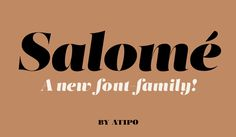 Salomé is a type family with a unique and flavorful design. Freely inspired by the didones shapes, its pure, high contrast strokes have a glamorous sensitivity. It's an elegant and eye-catching typeface, a little sexy, useful for editorial design, logotyp…