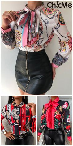 Scarf Printed Shirts Black Girl Fashion, Fashion Looks, Women's Fashion, Printed Blouse, Printed Shirts, Tops Online Shopping, Black And White Prints, Matching Outfits, Amazing Women