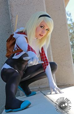 Spider-Gwen cosplay by Lemon Bell Cosplay, photograph by FirstGlance Photography Mais Disney Cosplay Costumes, Cosplay Outfits, Cool Costumes, Cosplay Girls, Marvel Spider Gwen, Spider Gwen Cosplay, Spider Girl, Action Pose, Best Cosplay Ever