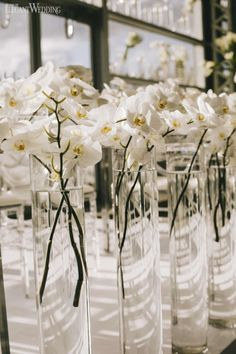 White Orchid Centerpieces In Tall Vases, Floating Orchid Centerpieces, All-White Wedding Flowers Elegantwedding. Yellow Wedding Flowers, All White Wedding, White Wedding Bouquets, Trendy Wedding, Spring Wedding, White Weddings, Modern Wedding Ideas, March Wedding Flowers, Modern Wedding Flowers