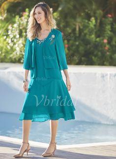 Mother of the Bride Dresses - $91.40 - A-Line/Princess V-neck Knee-Length Chiffon Mother of the Bride Dress With Beading Cascading Ruffles (0085103566)