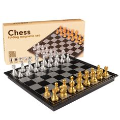 "The original chess travel set! This classic chess set is portable and magnetic. Your pieces will stay in place on the board wherever you are playing. - Board measures 9.7""L x 9.7""W x .95""H (24.8cm x 2"