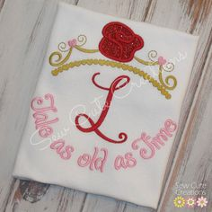 Personalized Princess Tiara Belle Beauty Inspired shirt Girls boutique short sleeve long custom embroidered sew cute creations