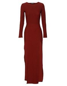 Side Split Textured Bodycon Long Sleeve Maxi Dress in Burgundy £ 24.95 #chiarafashion