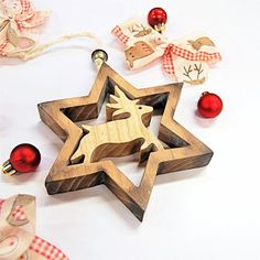 Star with Deer Handmade Wooden Decoration Make your Festive season Magical with unique Decorations from Choralis Wood Art. Handmade Decorations, Christmas Decorations, Christmas Ornaments, Holiday Decor, Wooden Stars, Wooden Decor, Handmade Wooden, Wood Art, Wall Decor