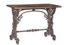 Elaborate Ironwork with Teak Wood Top Decor, Wood, Reclaimed Wood, Vintage Industrial Furniture, Furniture, Teak Wood, Home Decor, Vintage, Entryway Tables