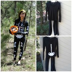 DIY Halloween Skeleton Costume by www.muffinsvsmuffintop.blogspot