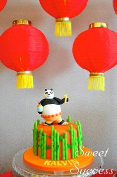 Love this KUNG FU PANDA CAKE from this Chinese Inspired Kung Fu Panda themed birthday party Full of Really Cute Ideas via Kara's Party Ideas Kara's Party Ideas | Cake, decor, cupc...
