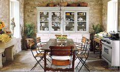 via Cote de Texas: dining-room/kitchen of a 19th-century Fredericksburg, TX house