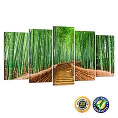 Creative Art- Bamboo Path Canvas Prints Contemporary Art Modern Wall Decor 5 Panel Wood Mounted Giclee Canvas Wall Art Framed Artwork for Living Room Office Decoration Ready to Hang