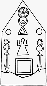 Canaanite Images of sun, crescent moon on stele from Tophet. Carthage (now at the British Museum), probably between 400-200 BCE. The Goddess Tanit is represented by the triangle, and upright arms figure. Her original name had been Inanna (Via Akadian: Ishtar, to Astarte, to eventually Tanit).