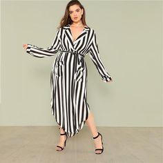 488f38c588049a Black And White Stripe V Neck Belted Plus Size Maxi Dress Plus Size Maxi  Dresses